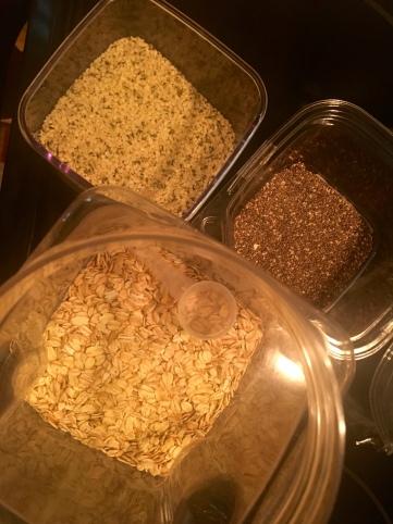 healthy breakfast trinity: chia seeds, raw oats, & hempseeds